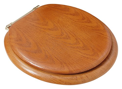 Ldr 050 1700 Round Wood Toilet Seat With Polished Brass