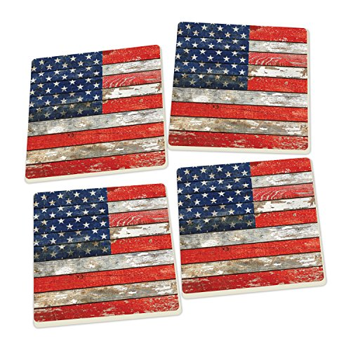 Distressed American Flag Coffee Table: American Flag Distressed Wood Look Set Of 4 Ceramic