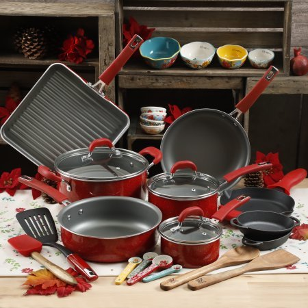 The Pioneer Woman 30pc Cookware Set Red Vintage Speckle