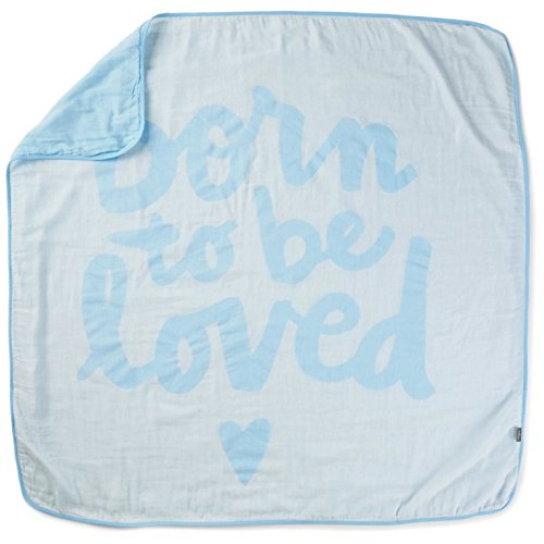 Born To Be Loved Blue Muslin Baby Blanket Pillows Blankets