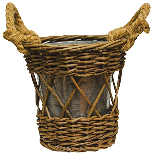 Cwi Gifts Woven Willow Twig Basket With Galvanized Metal