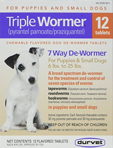 Durvet 12 Pack Triple Wormer Tablets For Puppies And Small