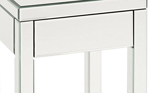 Ave Six Reflections End Table With Drawer Silver Mirrored