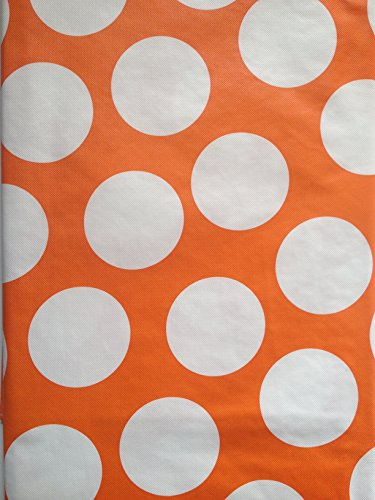 Summer Fun Flannel Back Vinyl Tablecloths Orange And White