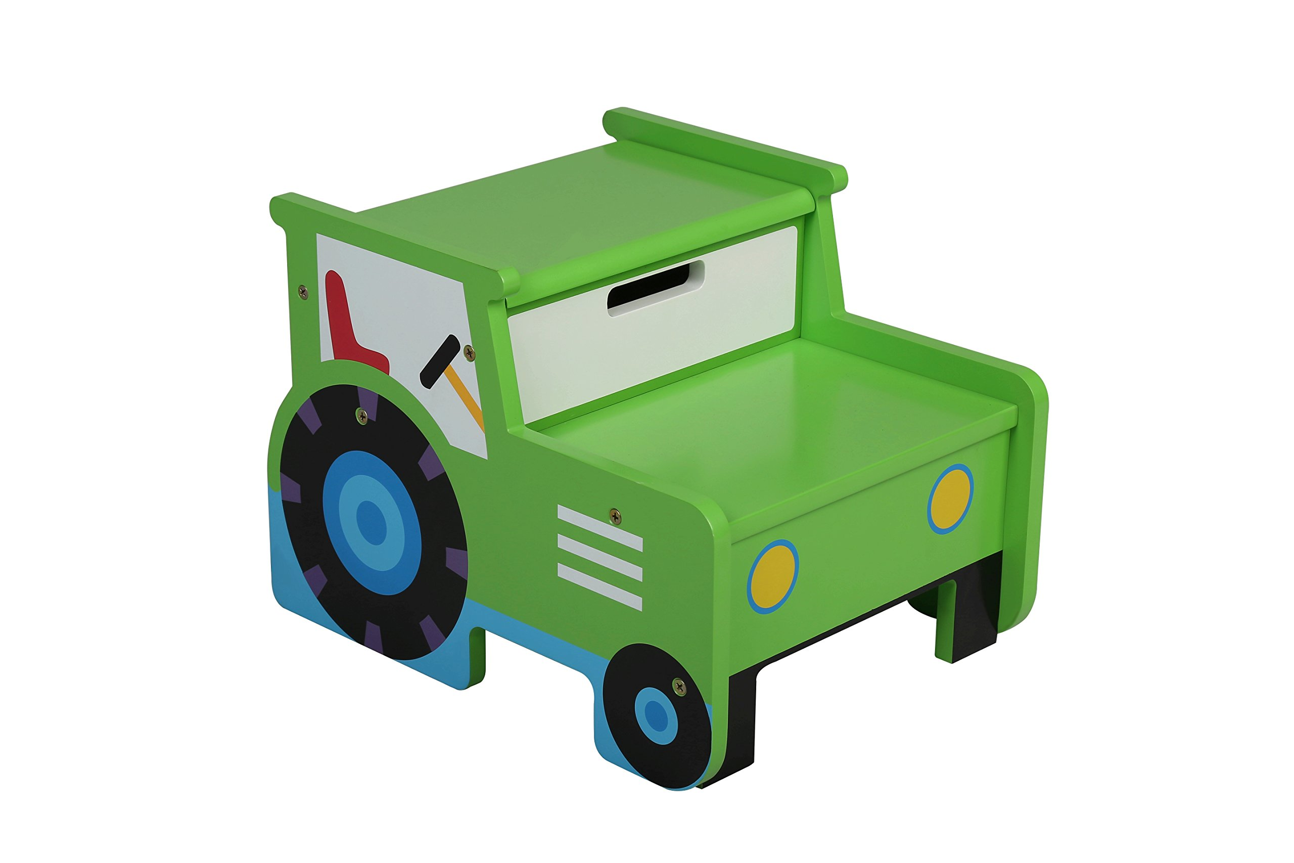 Olive Kids Tractor Step N Store Stool Green