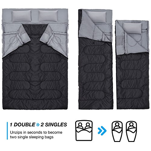 89afcb117ef7 Double Sleeping Bag with 2 Pillows Extra Large Queen Size Converts ...